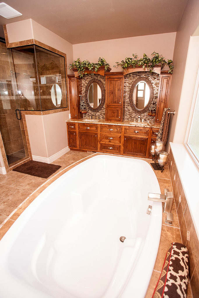 Master bathroom with huge shower, his and hers sinks and large soaking tub