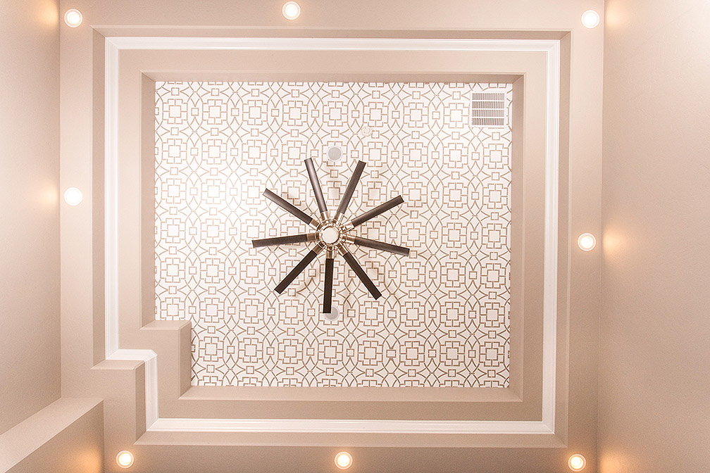 Master bedroom custom painted tray ceiling with ceiling fan