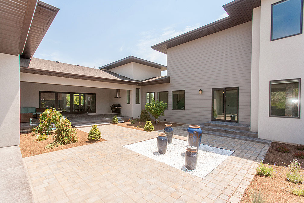 Private Courtyard with water features and built in fire pits.